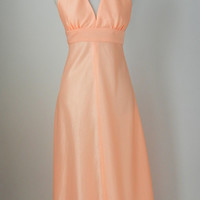 Vintage 1970s Peach Pink Halter Maxi Dress, Small