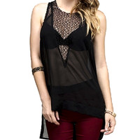 Black Web Triangle Sheer Sleeveless Top Shirt