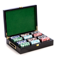 Poker Set with 300 Chips in Inlaid Lacquered Wood Box