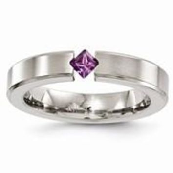 Titanium Satin Amethyst 4mm Wedding Band Ring
