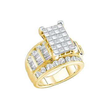 14kt Yellow Gold Women's Princess Diamond Cluster Bridal Wedding Engagement Ring 3.00 Cttw - FREE Shipping (US/CAN) - Size 10
