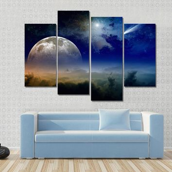 Glowing Clouds, Full Moon Rise, Stars And Comet In Dark Blue Sky Multi Panel Canvas Wall Art