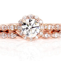 14K Rose Gold Moissanite Engagement Ring Wedding Set Wedding Band Diamond Halo Conflict Free