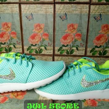 blinged nike roshe run br shoes light green color womens sneakers customized with swar