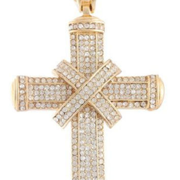 Silvertone with Clear Iced Out Twirl Cross Pendant