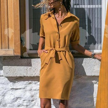 YCDXUR 2018 Autumn Fashion V-neck Dress Lace-up Buttoned Casual Women Dress Solid Color Pocket Mini Long Sleeve Dress