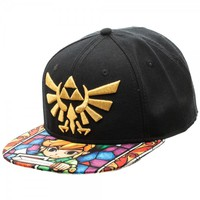 Nintendo Zelda Log Stain Glass Sublimated Bill - Snapbacks - Hats - Apparel & Merch - Nintendo