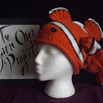 Clown Fish Hat - Knitted Clown Fish Beanie - Finding Nemo Inspired Hat