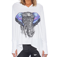 Elephant Print Long Sleeve Hooded Sweatshirt