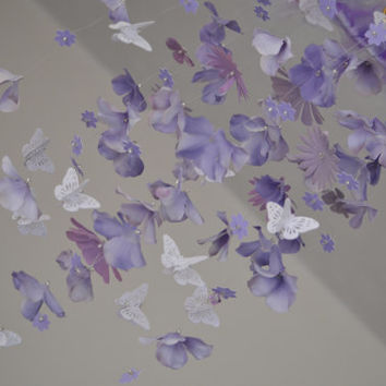 Lavender Butterfly Mobile (Light Purple/White Butterfly mobile) READY TO SHIP, Nursery Decor, Baby Shower Gift