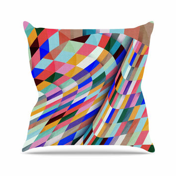 "Danny Ivan ""Different"" Multicolor Geometric Outdoor Throw Pillow"
