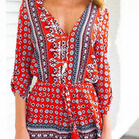 Bohemian Style V Neck Playsuit