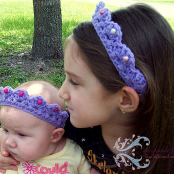 Custom Crochet tiara headband with elastic/ Crochet crown headband/ Birthday tiara headband/ Photo prop tiara/ Handmade newborn tiara