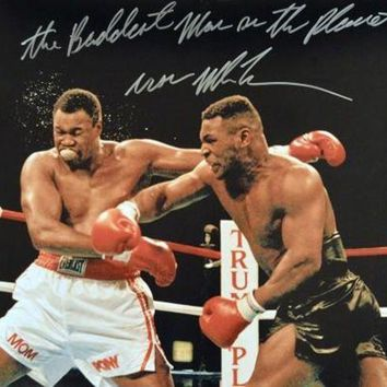 ICIKJNG Mike Tyson Signed Autographed 'The Baddest Man On The Planet' Glossy 16x20 Photo vs. Larry Holmes (ASI COA)