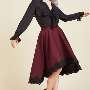 For Statement's Sake A-Line Skirt in Burgundy | Mod Retro Vintage Skirts | ModCloth.com