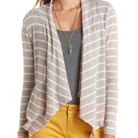 Striped Sweater Knit Cascade Cardigan