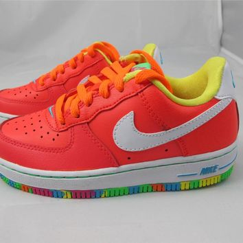 NEW KID'S GIRLS NIKE AIR FORCE 1 596729-605 LSR CRMSN/WHITE-PNK FL-TTL ORN