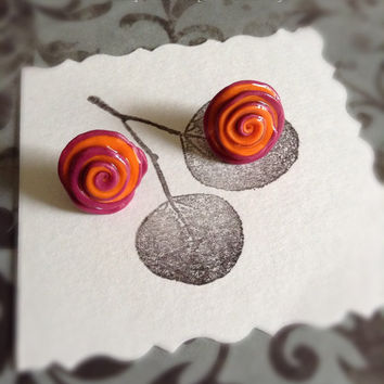 Rose studs hand made earrings polymer clay wearable art, spring flowers earrings