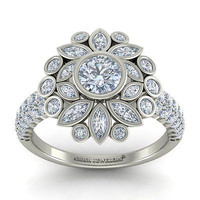 AMAZING 2.27CT WHITE ROUND 925 WHITE STERLING SILVER ENGAGEMENT RING FOR HER