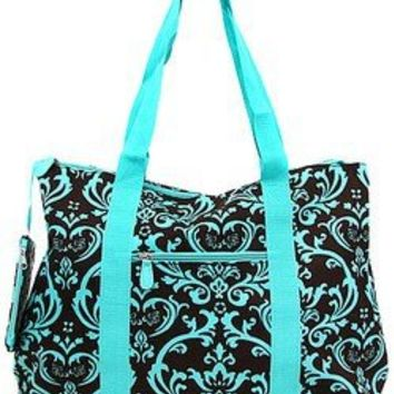 Large Roomy Canvas Tote Purse Beach Travel Bag w/ Attached Coin Purse Turquoise Blue Brown Damask (Turquoise Blue Brown Damask)