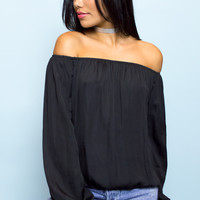 Zara Stain Off The Shoulder Top - Black