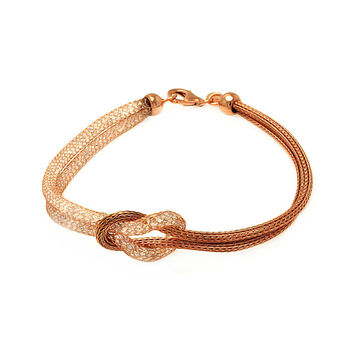 .925 Sterling Silver Rose Gold Plated Knot Center Strand Clear Cubic Zirconia Italian Bracelet: SOD