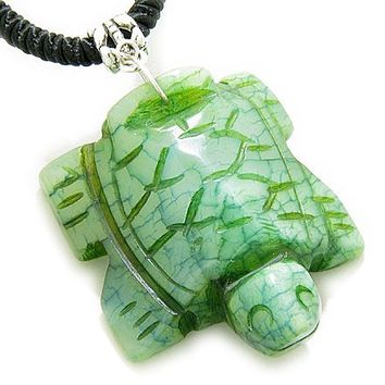 Good Luck Talisman Lucky Turtle Bright Green Jade Necklace