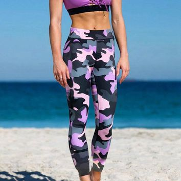 Fitness Sporting Leggings Women Workout Leggings Camouflage Autumn Patchwork Printed Sporting Pants