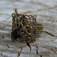 Vintage Unique Brass Filigree Ring with Black Glass - W. Germany