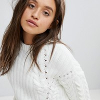 Bershka Cable And Rib Patterned Knitted Jumper at asos.com