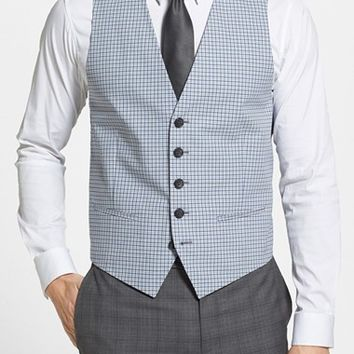Men's Nordstrom Check Cotton Blend Vest