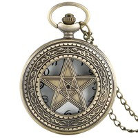 Vintage Necklace Pentagram Pentacle Pagan Wiccan Witch Gothic Pewter Quartz Pocket Watch Men Women Children Gift Stylish Pendant