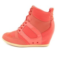 Mixed Media Lace-Up Wedge Sneaker: Charlotte Russe