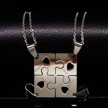 4 Pcs Best Friends Pendant Necklace Women Men Jewelry Puzzle Friendship Necklace Jewellery Silver Stainless Steel Neckless N6101