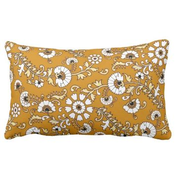 Indonesian Floral Orange Lumbar Pillow