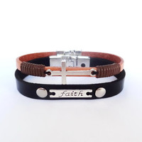 Men's leather bracelets/Mens bracelet/Faith bracelet/Mens Jewelry/Cross bracelet/Faith bracelet/Gift for Him/Set of two bracelets