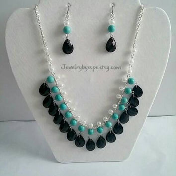 Turquoise White Pearls Black Tear  Drops Anthropologie Necklace,Bib Necklace Statement,Big Bold Chunky Necklace,Statement Necklace Silver