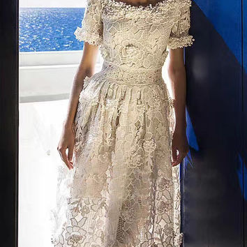 White Floral Crochet Boat Neck Crochet Lace Midi Dress