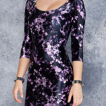 MIDNIGHT THISTLE 3/4 SLEEVE VELVET DRESS - LIMITED