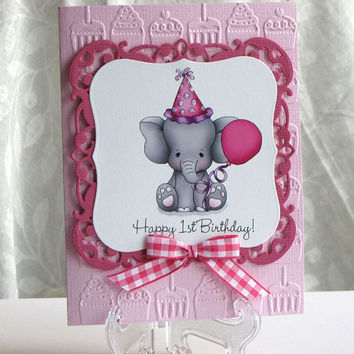 First Birthday, Elephant with presents card, Greeting Card, handmade, pink and white, embossed, hand crafted