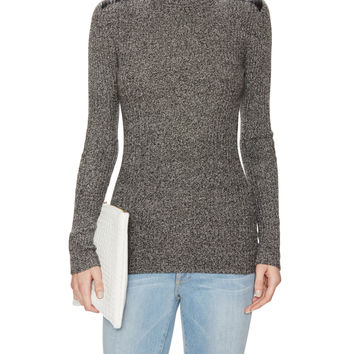 Autumn Cashmere Women's Cashmere Turtleneck Sweater with Leather Shoulder Patches
