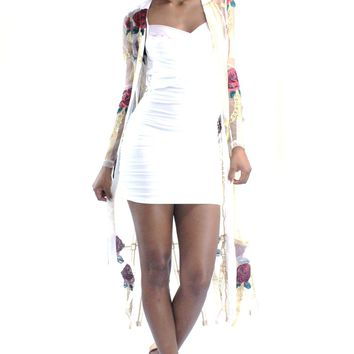 Floral Embroidery See Through Long Sleeves Gold Lining Robe Cardigan