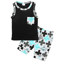 New baby Boys Toddler Sleeveless Vest Tops+Pants Outfits Clothing