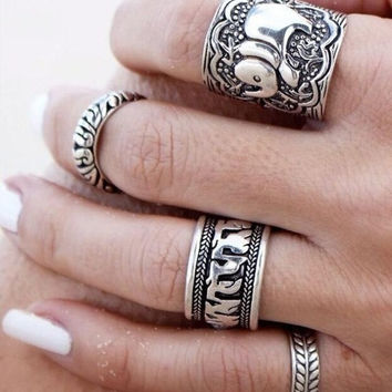 Fashion Elephant Leaf Joint Knuckle Nail Ring Set of 4 Rings = 5618304961