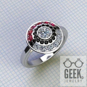 Poke Engagement Ring with plain shank,-Ladies