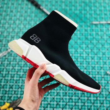 "Balenciaga Stretch Black Knit Speed Trainers With Grey ""BB"" Sneaker - Best Online Sale"