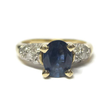 Vintage 14K Sapphire Diamond Ring 1.80 Ctw Two Tone Yellow and White Gold Size 7.5