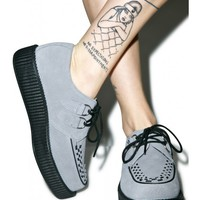 T.U.K. Grey Suede Viva Low Creepers | Dolls Kill