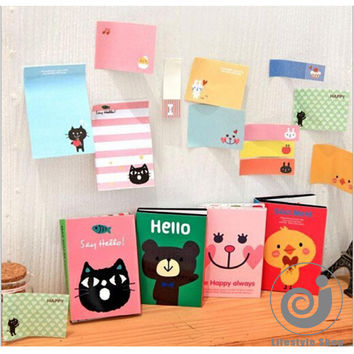 cartoon cute animals foldable memo pad post it paper sticker kawaii stationery sticky notes office school supplies