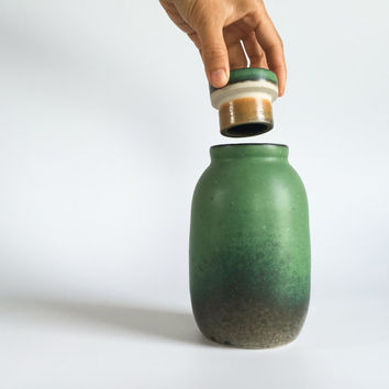 EMERALD GREEN BOTTLE, ceramic, pottery, handmade, lidded, storage container